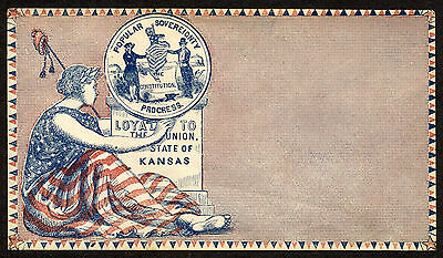 Patriotic Civil War Cover, Loyal to the Union, Kansas