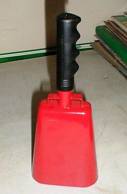 """NEW 11.2"""" Red Bell Black Handle COWBELL w/ Stick Grip Handle Cheering Cow Bell"""