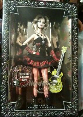 2008 Hard Rock Cafe Gold Label Barbie *collector Guitar Pin*