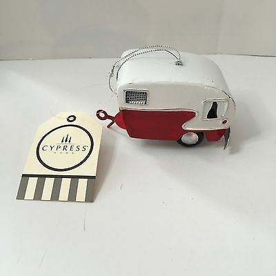 NEW Cypress Home Vintage Red White Metal Camper Replica Ornament