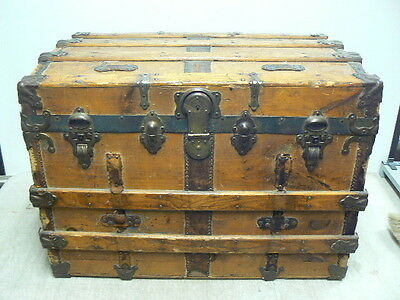 Antique Victorian Steamer Trunk Brides Chest Coffee Table, Oak Metal & Leather