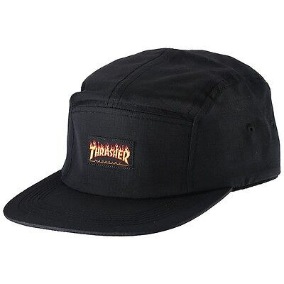 "New with Tags THRASHER Mag ""Flame Logo"" Skateboard 5-Panel Strapback Hat (Black)"