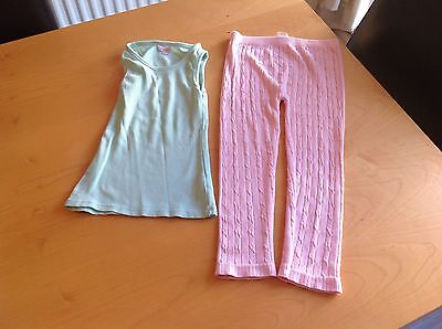 Girls Vest Top And Leggings Set - Age 6-7 - Pink And Turquoise - Soft Comfy
