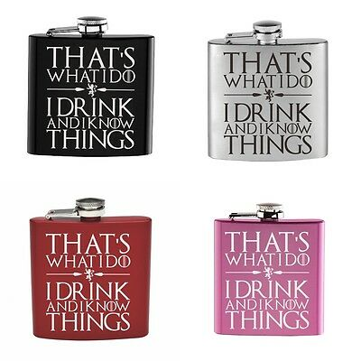 1PCS Engraved 6OZ Hip Flask THAT'S WHAT I DO  I DRINK AND I KNOW Gift Favors