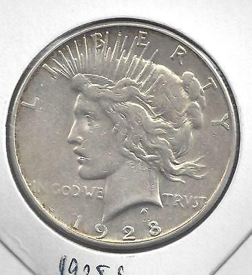 1928 S Peace silver dollar. Nice circulated 90% US Silver Coin