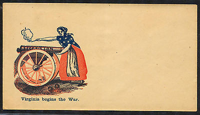 Patriotic Civil War Cover, Firing Canon Incorrectly, Virginia Begins the War