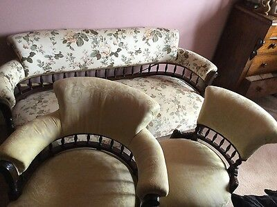 Antique French Lounge Suite Sette Couch Two Chairs