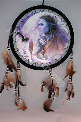 """3D Bueaty & Wolf Dream Catcher w feathers wall hanging decoration ornament-28"""""""