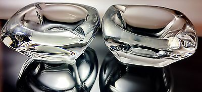 Rare Sister Set Vintage Daum France Crystal Glass Ashtray Signed 1947 Antique