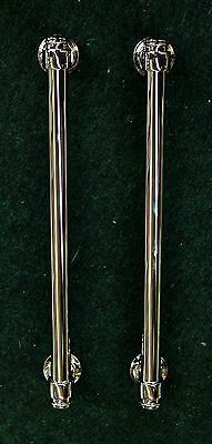 """Lot of 2 Large Refrigerator Pulls 12"""" Center to Center in Polished Nickel"""