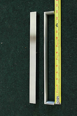 2 Large Refrigerator Pulls Contemporary Design Brushed Nickel 1 x 14 x 1 1/2
