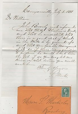 Letter- Canyonville, Oregon 1881- Mike Eberline is Dead. to Roseburg, OR