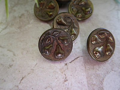 6 Antique VICTORIAN METAL REALISTIC 3 PEARS ( FRUIT) BUTTONS LOT