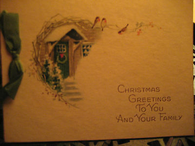 Vtg Art Deco Silk Ribbon Christmas Card Snowy Cottage Door / Signed