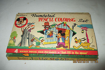 Vintage Walt Disney's Mickey Mouse Club Pencil Coloring Set - New In Box