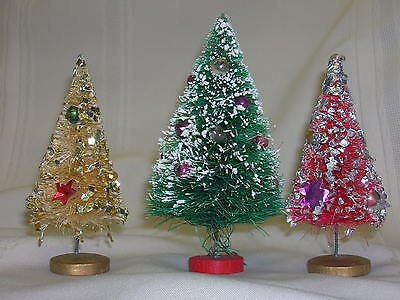 """3 Vintage Table Top Bottle Brush Christmas Trees Green Red Gold Tallest 5"""""""