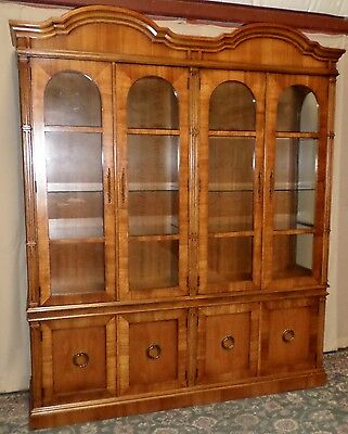 FANCHER CHINA CABINET Neo Classical Hutch Glass Shelves VINTAGE