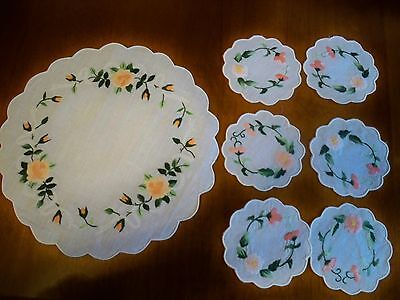 Embroidered Coasters And Centerpiece Doily