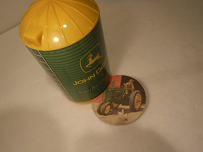 "John Deere ""Nothing Runs Like A Deere"" Silo Dispenser W/45 Drink Coasters Farm"