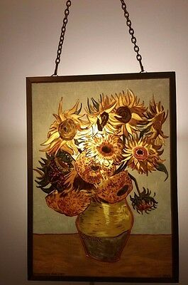 """Glassmasters: Vincent Van Gogh: """"Sunflowers"""" 5 x 7 inches"""
