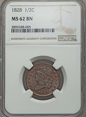 1828 Half Cent NGC MS62 BN - 13 Stars - Lustrous - VERY ATTRACTIVE!