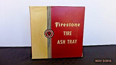 Vintage Advertising Firestone Gum Dipped Rubber Tractor Tire Ashtray Glass Rare