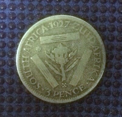 1927 South Africa 3 Pence Silver Coin - Collectable Example