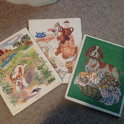 3 vintage Playskool tray frame puzzles ... dogs puppies, guc