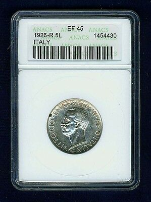 Italy Kingdom 1926-R 5 Lire Silver Coin, Anacs Certified Ef45