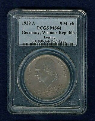"""Germany Weimar Republic 1929-A  5 Reichsmark """"lessing"""" Coin, Certified Pcgs Ms64"""