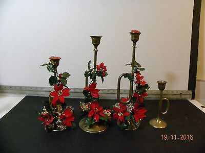 Vtg Set 4 Mid Century French Horn Brass Taper Candle Holders Christmas Candle