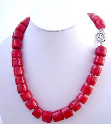 Christmas present,Cylindrical beads natural Red coral necklace, 17'' 43cm