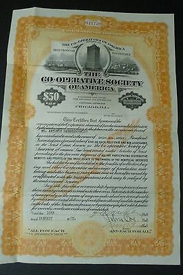 The Co-Operative Society of America Stock Certificate 1922 Chicago, IL