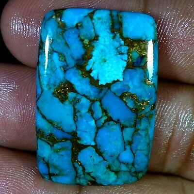 40.05Cts. NATURAL SKY BLUE COPPER TURQUOISE CUSHION CABOCHON SPIDER WEB GEMSTONE