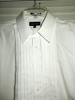 Mens 16-1/2 34/35 Alan Flusser Pleated Tuxedo Shirt French Cuffs Excellent