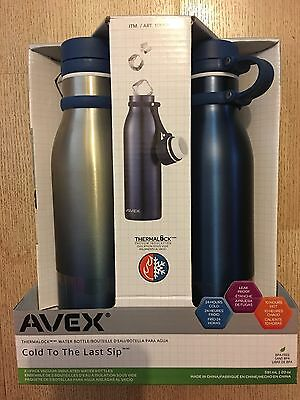 NEW 2 x Avex Vaccum Insulated Stainless Steel Water Bottle -Blue -591ml each