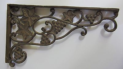 Vintage Cast Iron Plant Hanger, Grapes & Leaves, Dual Sided