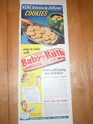 Vintage Baby Ruth Candy Bar Magazine Advertisement From the 1940's