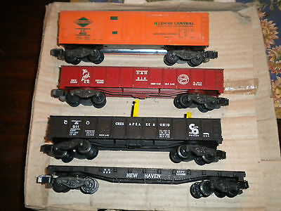 4 American Flyer Cars Ill Central 802 New Haven 928 C&O 911  D&H  916 Freight