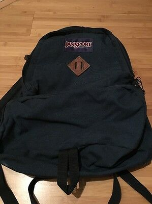 VTG JANSPORT Backpack Navy Blue Leather Hiking Daypack USA
