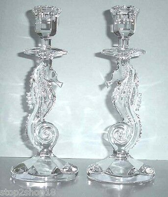 Waterford Crystal Seahorse Candlestick Holders Pair (2) #127994 NEW