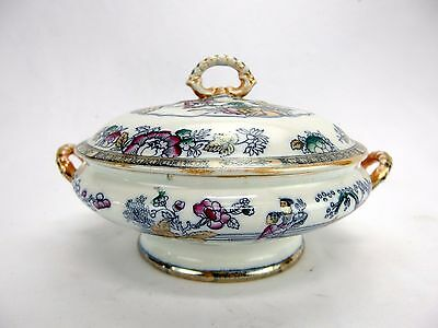Ashworth Bros c.1880 Chinese Pattern Covered Vegetable Dish Polychromed