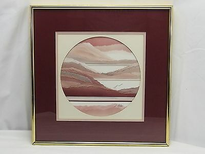 L. Miller Signed Torn Paper Collage Watercolor Painting Coastal Seascape