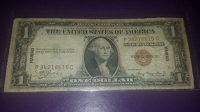 1935 A $1 Brown Seal Hawaii Emergency WWII Silver Certificate FREE SHIPPING