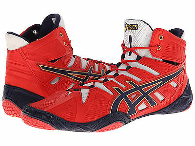 Nib Boys/youth/mens Asics Omniflex-Attack Wrestling Shoes - 7/38 Red/navy/white