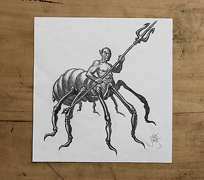 Unpublished fantasy game **ORIGINAL ART**  Pencil drawing of a DRIDER