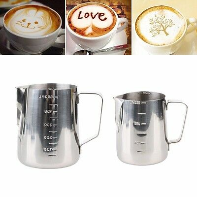 Stainless Steel Milk Coffee Pitcher Latte Espresso Frothing Scale Jug 350/ 600ml