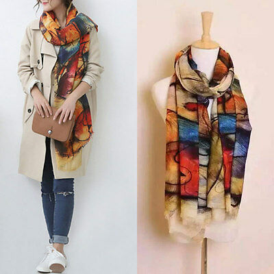 Women's Fashion Graffiti Long Scarves Soft Imitation Cashmere Wrap Shawl Scarf