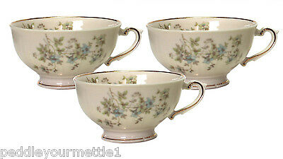 Set of 3 Syracuse China Federal Mayview Footed Teacups Blue Green Flower