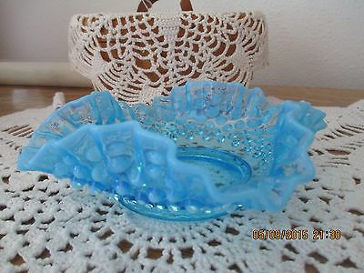 Vintage and very collectible Ocean Blue Hobnail Fenton small dish - ruffle edge